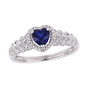 Stella Grace 10K Gold Created Blue Sapphire & Diamond Accent Ring