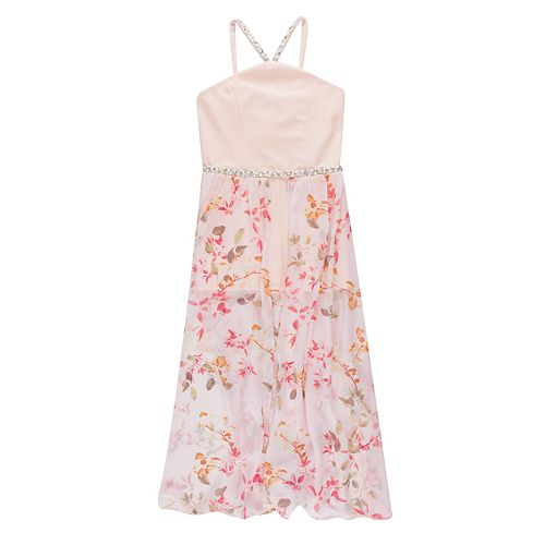 Girls 7-16 Speechless Floral Maxi-Overlay Romper