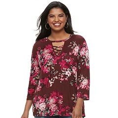 Plus Size Juniors' Liberty Love Floral Lace-Up Top