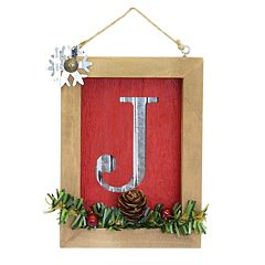 Lodge Monogram Christmas Ornament
