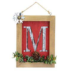 Lodge Monogram Christmas Ornament
