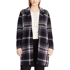 Plus Size Chaps Plaid Open Front Long Sweater