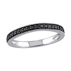 Stella Grace 10k White Gold 1/4 Carat Black Diamond Band Ring