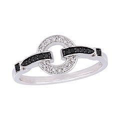 Stella Grace 10k White Gold 1/6 Carat T.W. Black & White Diamond Loop Ring