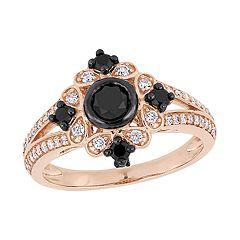 Stella Grace 10k Rose Gold 1 Carat Black & White Diamond Ring