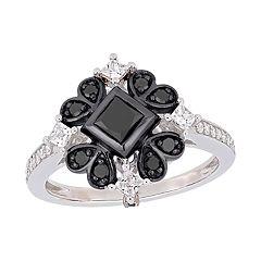 Stella Grace 10k White Gold 1 Carat Black & White Diamond Ring