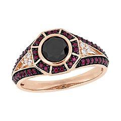 Stella Grace 10k Rose Gold 1 Carat Diamond & Ruby Ring