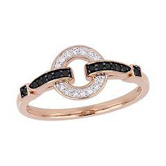 Stella Grace 10k Rose Gold 1/6 Carat Black & White Diamond Loop Ring
