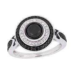 Stella Grace 10k White Gold 1 5/8 Carat Black & White Diamond Circle Ring
