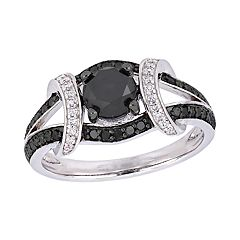 Stella Grace 10k White Gold 1 3/8 Carat T.W. Black & White Diamond Ring