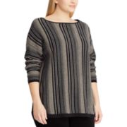 Plus Size Chaps Striped Boatneck Sweater