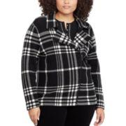 Plus Size Chaps Plaid Asymmetrical Sweater Jacket