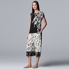 Women's Simply Vera Vera Wang Boatneck Sleep Tee & Capri Pajama Set
