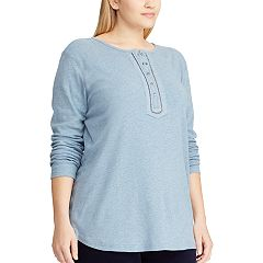 Plus Size Chaps Embellished Henley Top