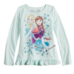 Disney's Frozen Elsa, Anna & Olaf Toddler Girl Glittery Graphic Top by Jumping Beans®