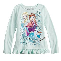 Disney's Frozen Elsa, Anna & Olaf Girls 4-12 Glittery Graphic Top by Jumping Beans®