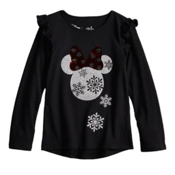 Disney's Minnie Mouse Girls 4-12 Glittery Holiday Graphic Top by Jumping Beans®