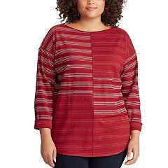 Plus Size Chaps Striped Boatneck Top