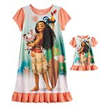 Disney's Moana Girls 4-8 Ruffled Dorm Nightgown & Matching Doll Gown