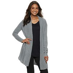 Women's Dana Buchman Pleated Open-Work Cardigan Sweater