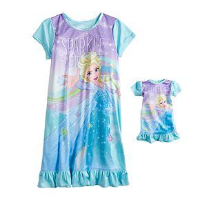 Disney's Frozen Elsa Girls 4-8 Ruffled Dorm Nightgown & Matching Doll Gown