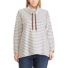 Plus Size Chaps Striped Cowlneck Top