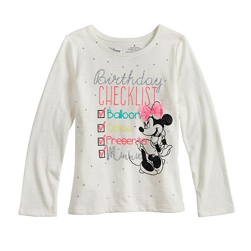 Disney's Minnie Mouse Girls 4-10 Glittery Birthday Graphic Tee by Jumping Beans®