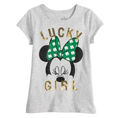 Disney's Minnie Mouse Toddler Girl 'Lucky Girl' Glitter & Sequin Graphic Tee by Jumping Beans®