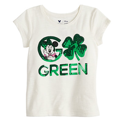 """Disney's Minnie Mouse Girls 4-10 """"Go Green"""" St. Patrick's Day Graphic Tee by Jumping Beans®"""