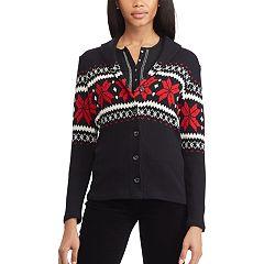 Women's Chaps Print Shawl-Collar Cardigan Sweater
