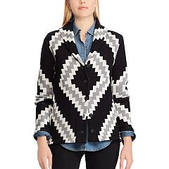 Women's Chaps Print Shawl-Collar Cardigan Sweater