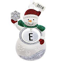 Snowman Monogram Christmas Ornament
