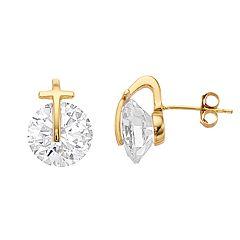 Primavera 24K Gold over Sterling Silver Cubic Zirconia Cross Stud Earrings