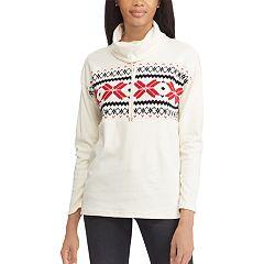 Women's Chaps Print Drawstring Turtleneck Sweatshirt