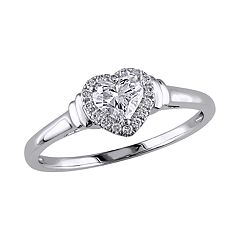 Stella Grace 14k White Gold 1/2 Carat T.W. Diamond Heart Engagement Ring