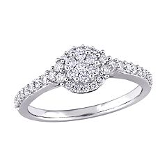 Stella Grace 14k White Gold 1/2 Carat T.W. Diamond Halo Ring