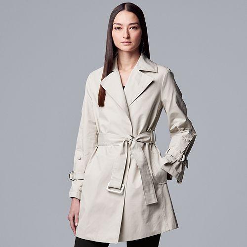 Women's Simply Vera Vera Wang Button Sleeve Trench Coat