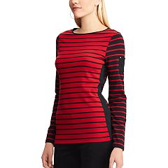 Women's Chaps Striped Contrast-Panel Tee