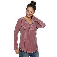 Juniors' American Rag Burnout Lace-Up Henley Top