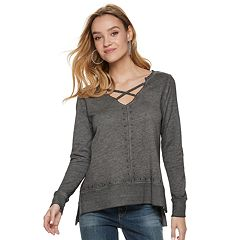 Women's Rock & Republic® Studded French Terry Sweatshirt