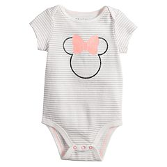 Disney's Minnie Mouse Baby Girl Graphic Striped Bodysuit by Jumping Beans®