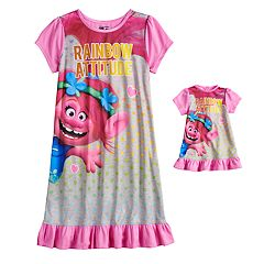 Girls 4-8 DreamWorks Trolls Poppy Dorm Nightgown & Matching Doll Nightgown