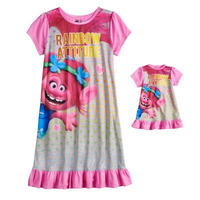 Girls 4-8 DreamWorks Trolls Poppy Dorm Nightgown & Matching Doll Nightgown