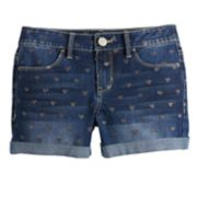 Girls 7-16 & Plus Size SO® Sewn-Rolled Cuff Denim Shorts