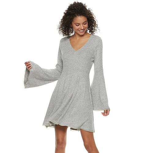 Juniors' American Rag Bell-Sleeve Fit & Flare Sweater Dress