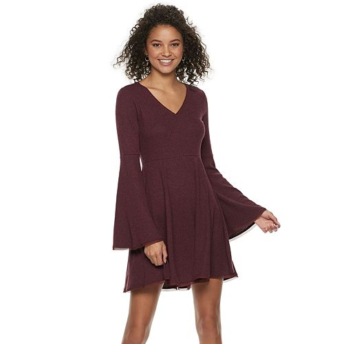 5c2e26dbf997 Juniors' American Rag Bell-Sleeve Fit & Flare Sweater Dress