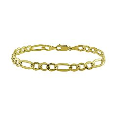 Stella Grace 10K Yellow Gold Figaro Men's Bracelet