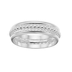 LC Lauren Conrad Silver Tone Ball Detail & Solid Ring Set