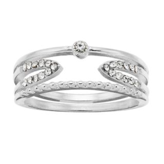 LC Lauren Conrad Silver Tone Simulated Stone Stacked Ring