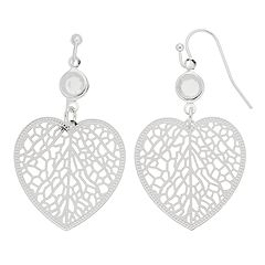 LC Lauren Conrad Silver Tone Filigree Heart Simulated Crystal Drop Nickel Free Earrings
